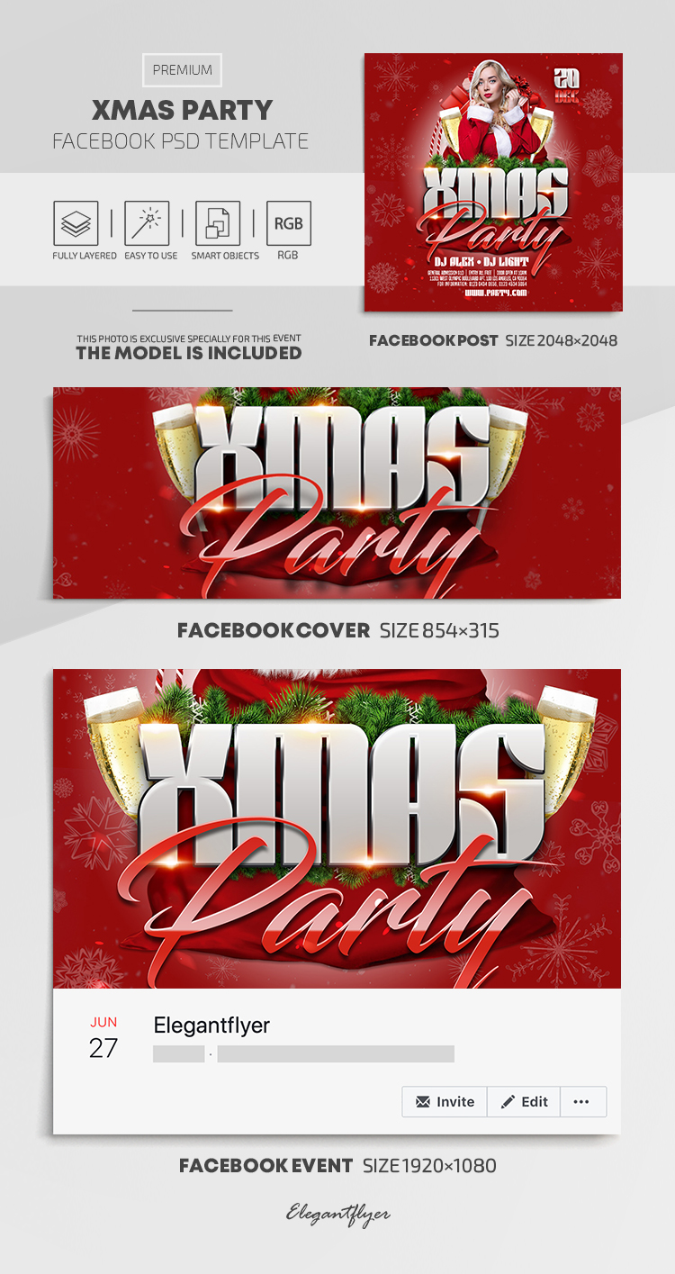 Xmas Party – Facebook Cover Template in PSD + Post + Event cover