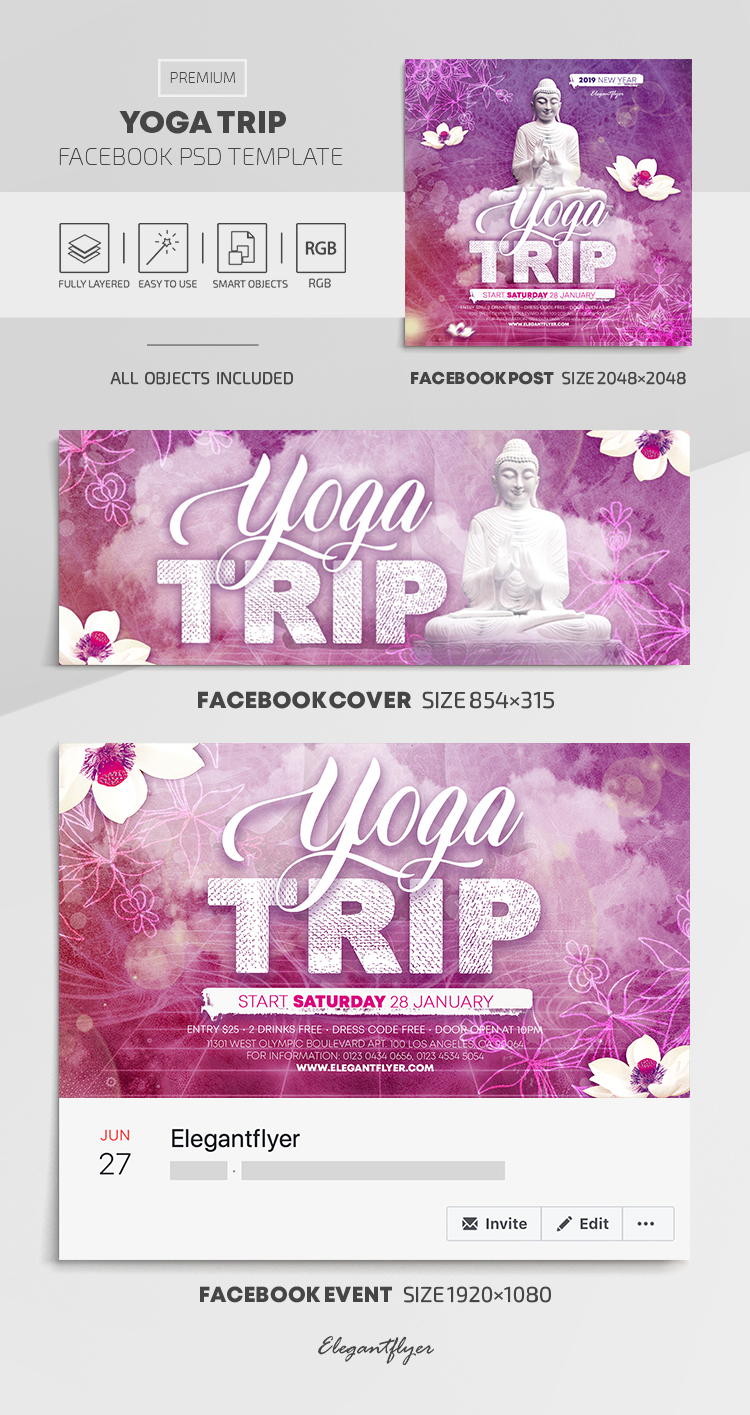 Yoga Trip – Facebook Cover Template in PSD + Post + Event cover