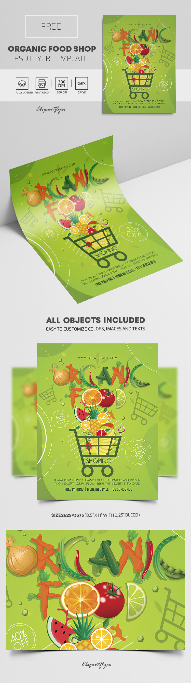 Organic Food Shop – Free PSD Flyer Template
