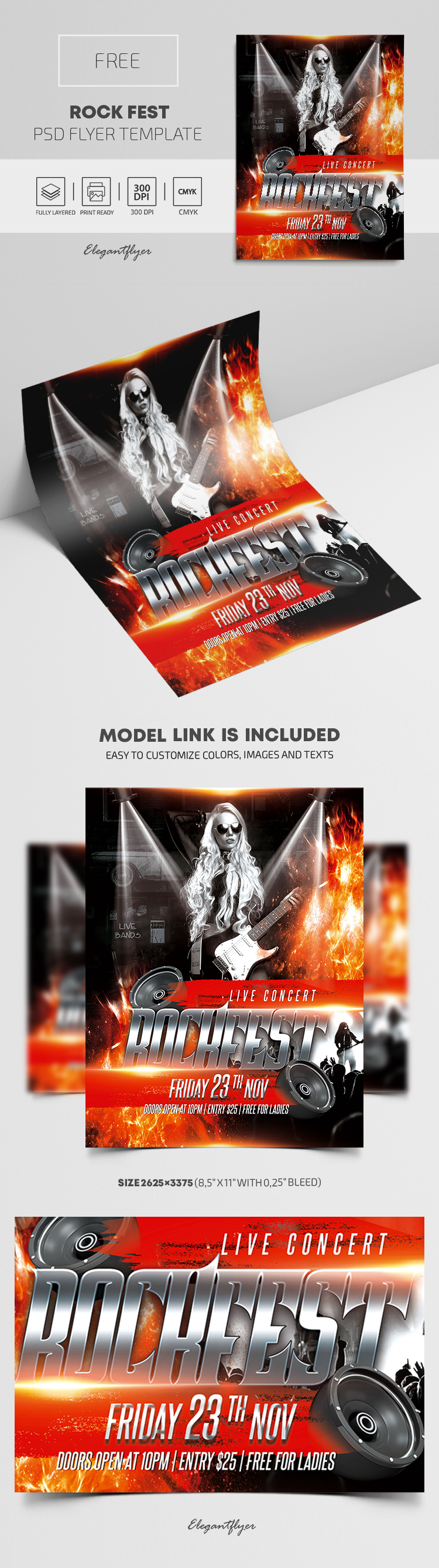 Rock Fest – Free PSD Flyer Template