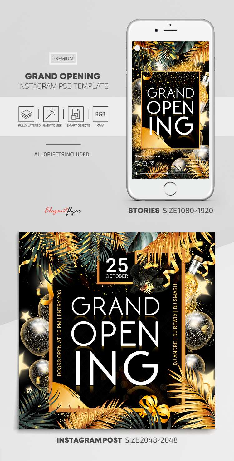 Grand Opening – Instagram Stories Template in Premium PSD + Post Templates