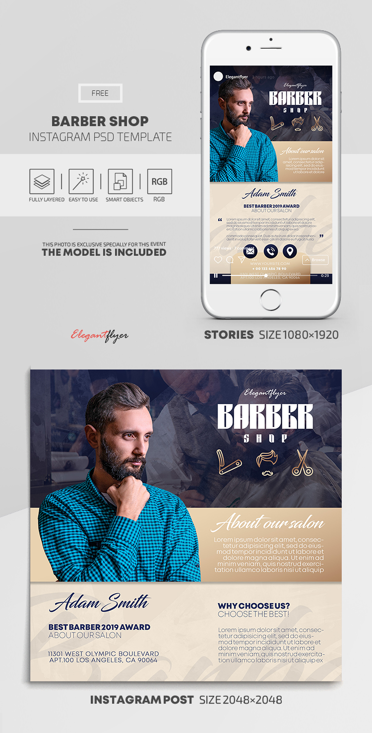 Barber Shop – Free Instagram Stories Template in PSD + Post Templates