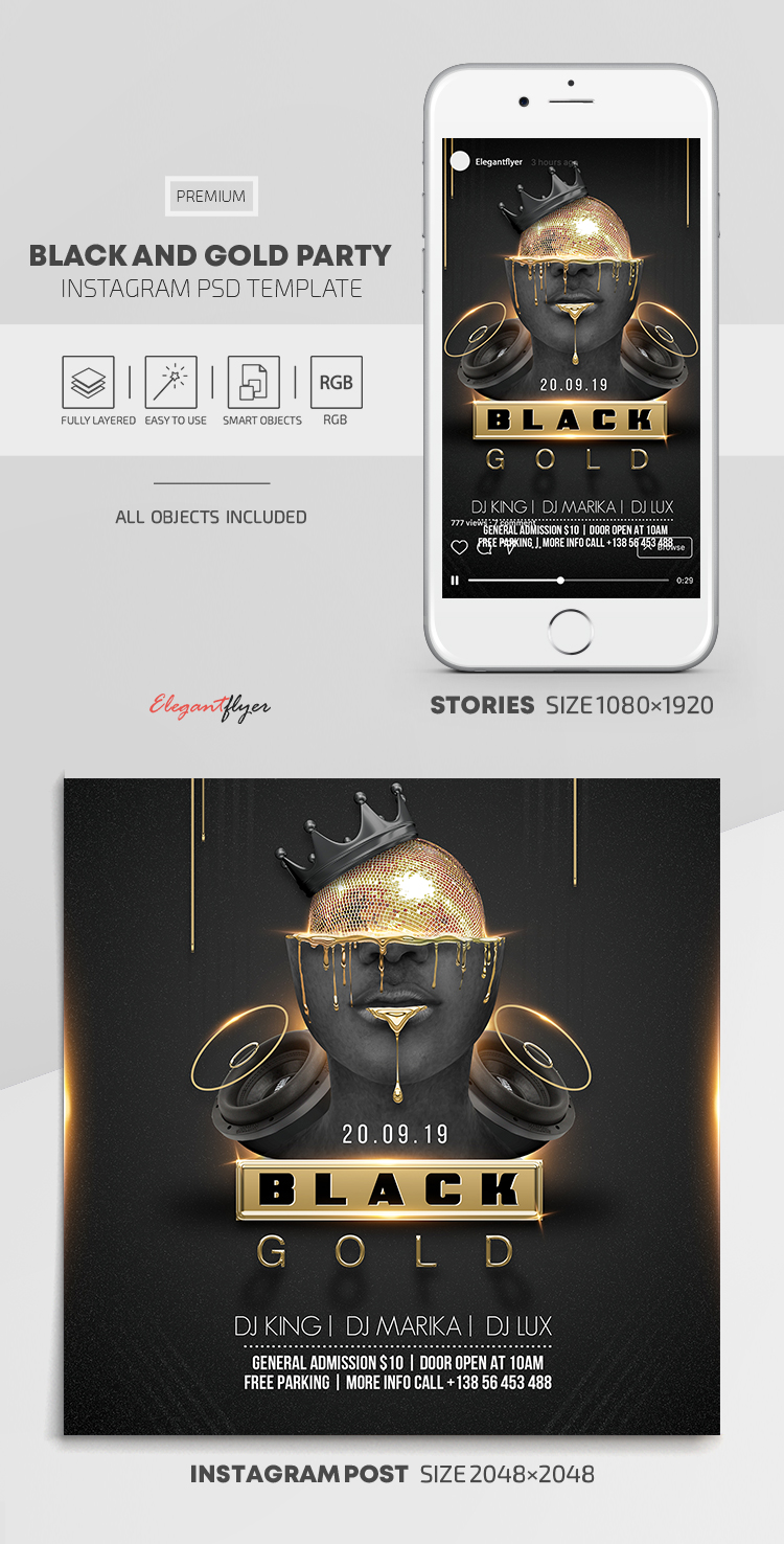 Black and Gold Party – Instagram Stories Template in PSD + Post Templates