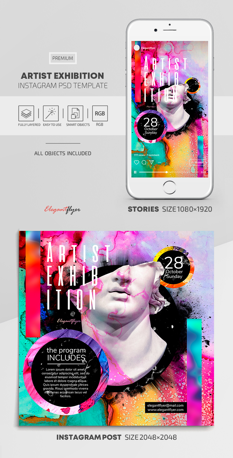 Artist Exhibition – Instagram Stories Template in PSD + Post Templates