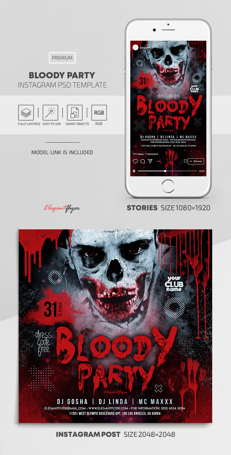 Bloody Party – Instagram Stories Template in PSD + Post Templates