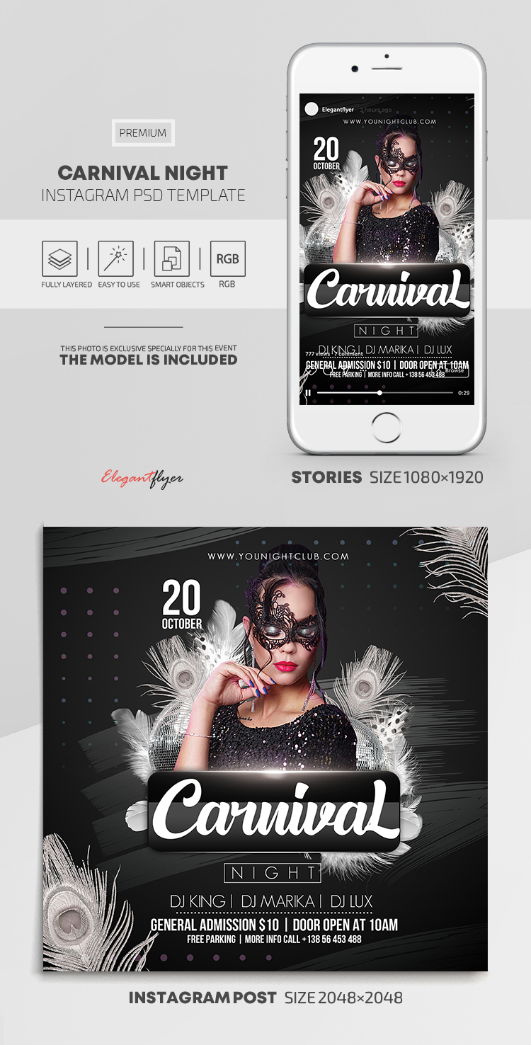 Carnival Night – Instagram Stories Template in PSD + Post Templates