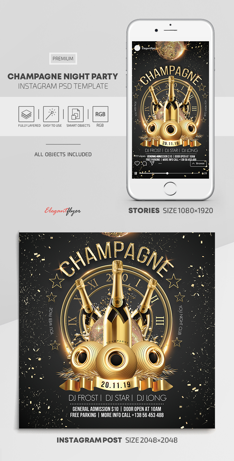 Champagne Night Party – Instagram Stories Template in PSD + Post Templates
