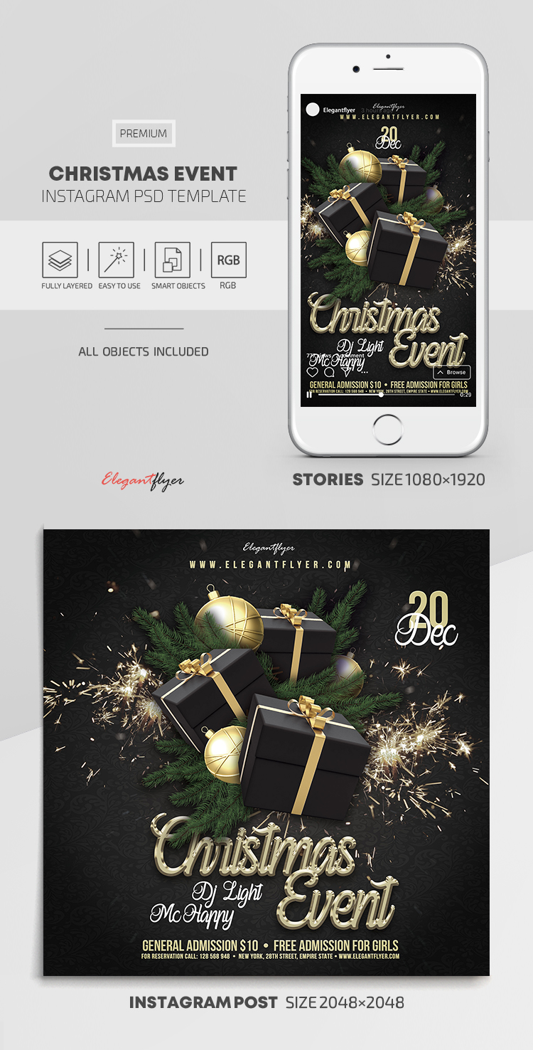 Christmas Event – Instagram Stories Template in PSD + Post Templates