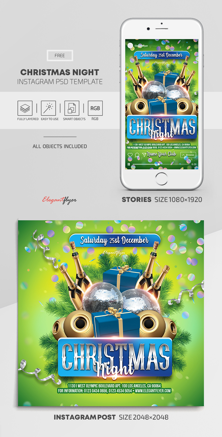 Christmas Night – Free Instagram Stories Template in PSD + Post Templates