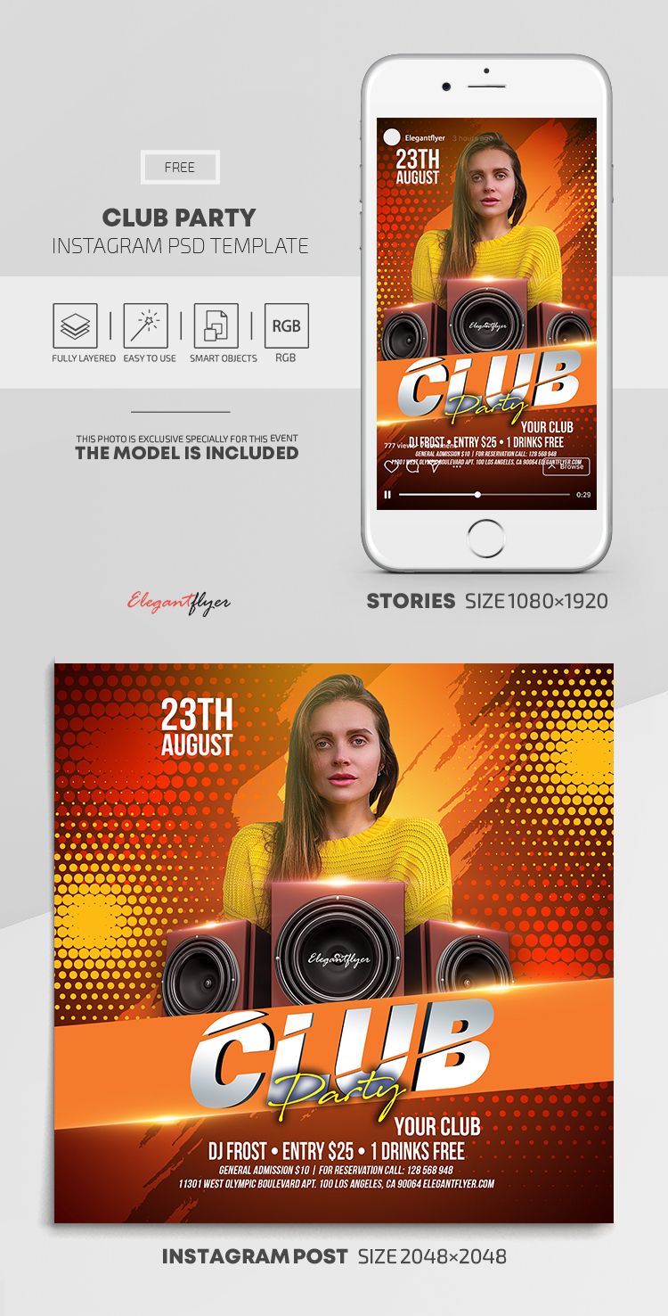 Club Party – Free Instagram Stories Template in PSD + Post Templates