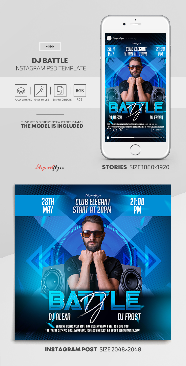 DJ Battle – Free Instagram Stories Template in PSD + Post Templates