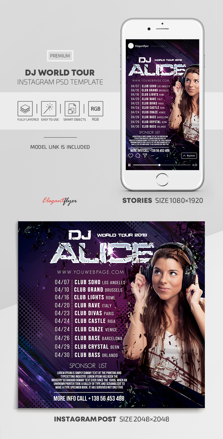 DJ World Tour – Instagram Stories Template in PSD + Post Templates