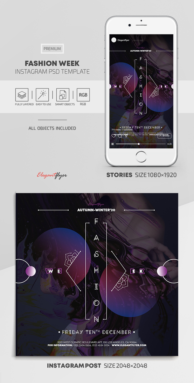 Fashion Week – Instagram Stories Template in PSD + Post Templates
