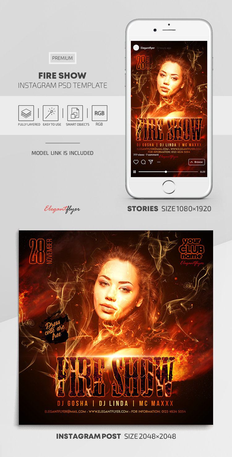 Fire Show – Instagram Stories Template in PSD + Post Templates