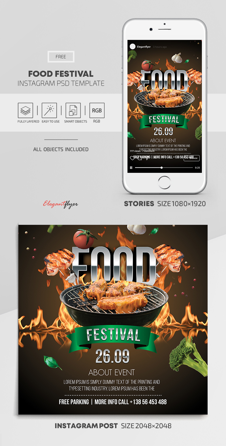 Food Festival – Free Instagram Stories Template in PSD + Post Templates