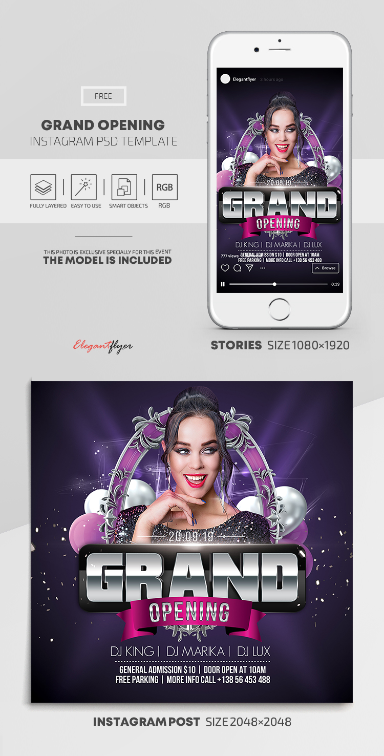 Grand Opening – Free Instagram Stories Template in PSD + Post Templates