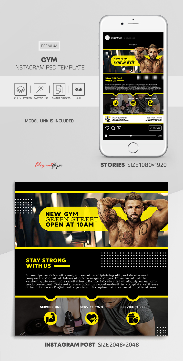 GYM – Instagram Stories Template in PSD + Post Templates