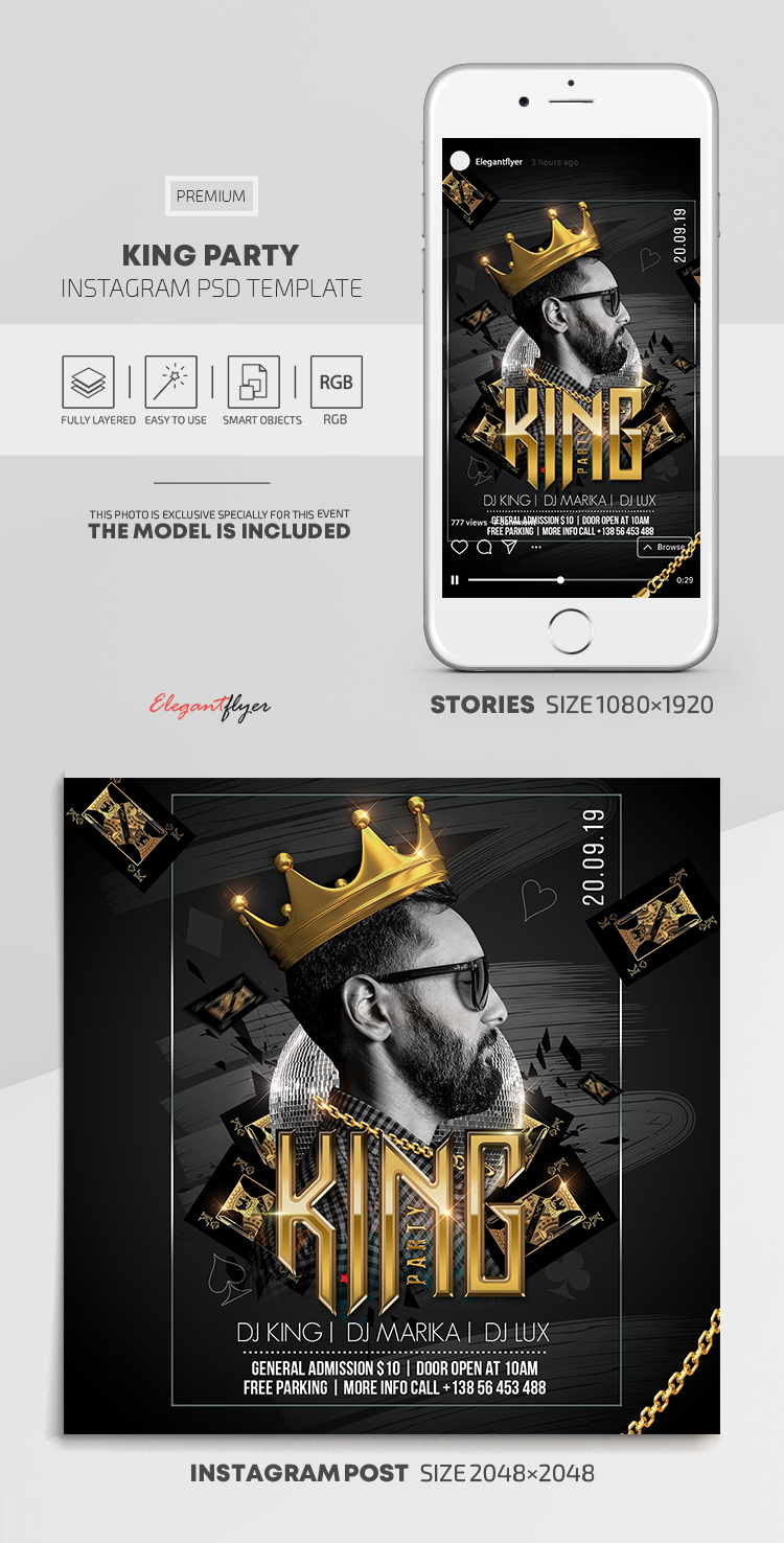 King Party – Instagram Stories Template in PSD + Post Templates