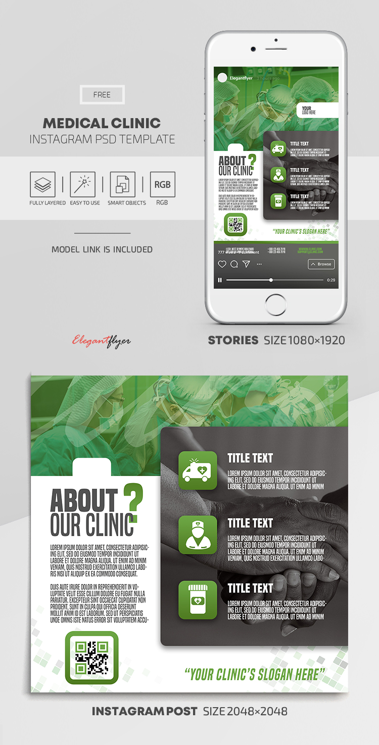 Medical Clinic – Free Instagram Stories Template in PSD + Post Templates