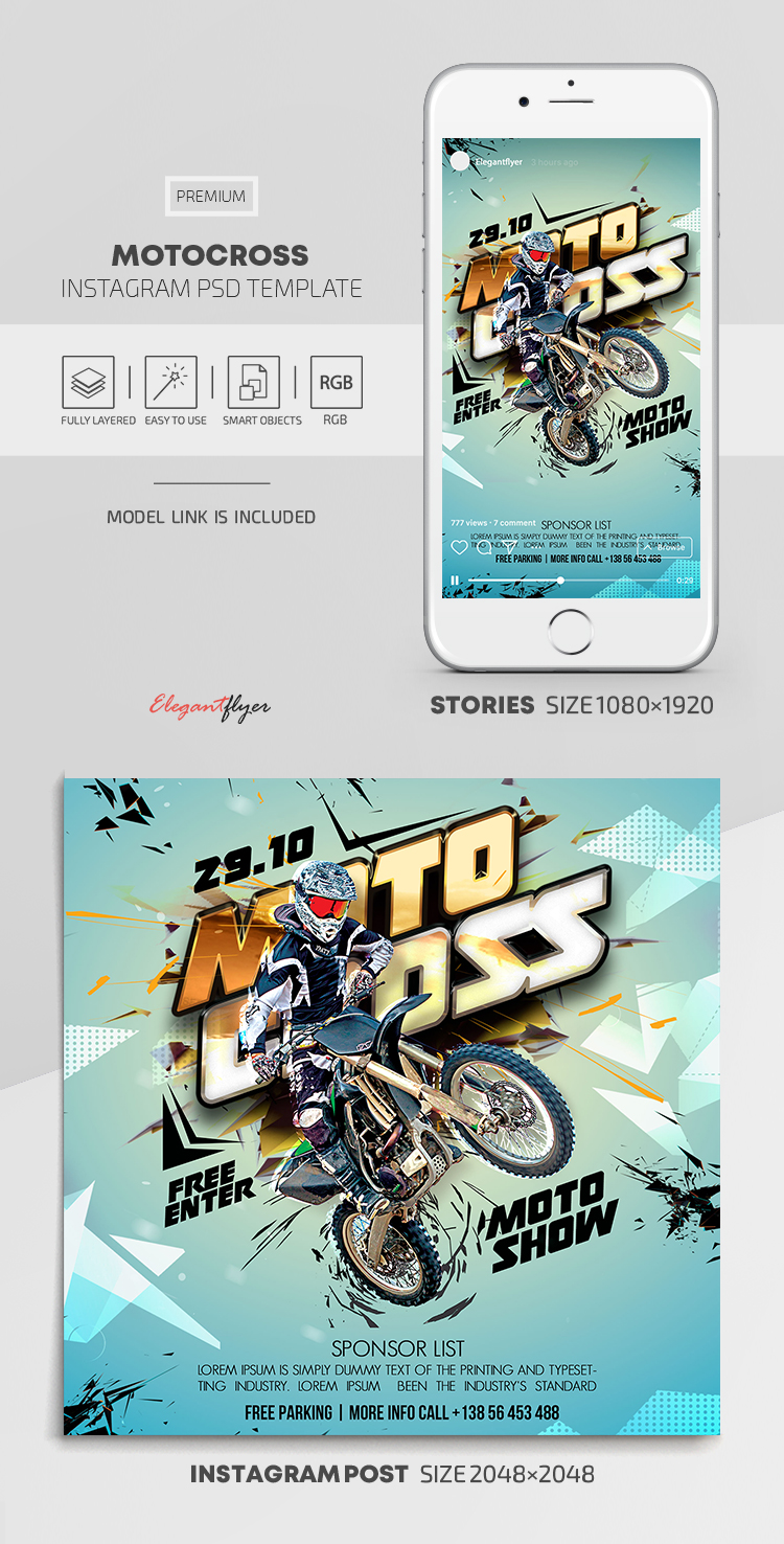 Motocross – Instagram Stories Template in PSD + Post Templates