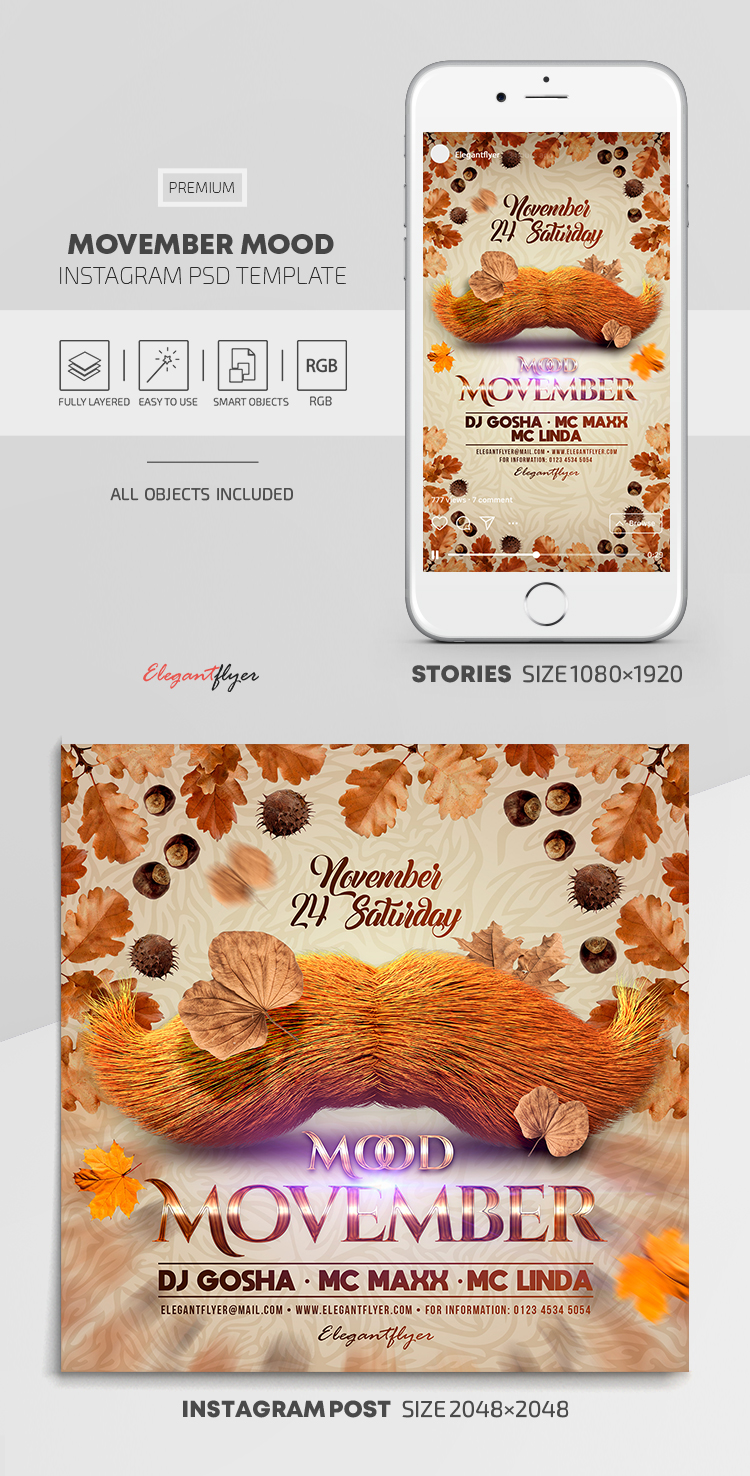 Movember Mood – Instagram Stories Template in PSD + Post Templates