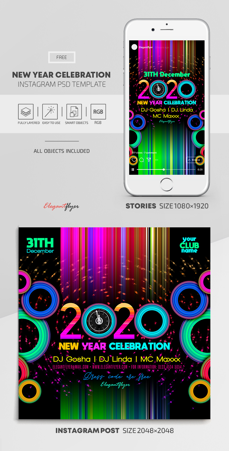 New Year Celebration – Free Instagram Stories Template in PSD + Post Templates