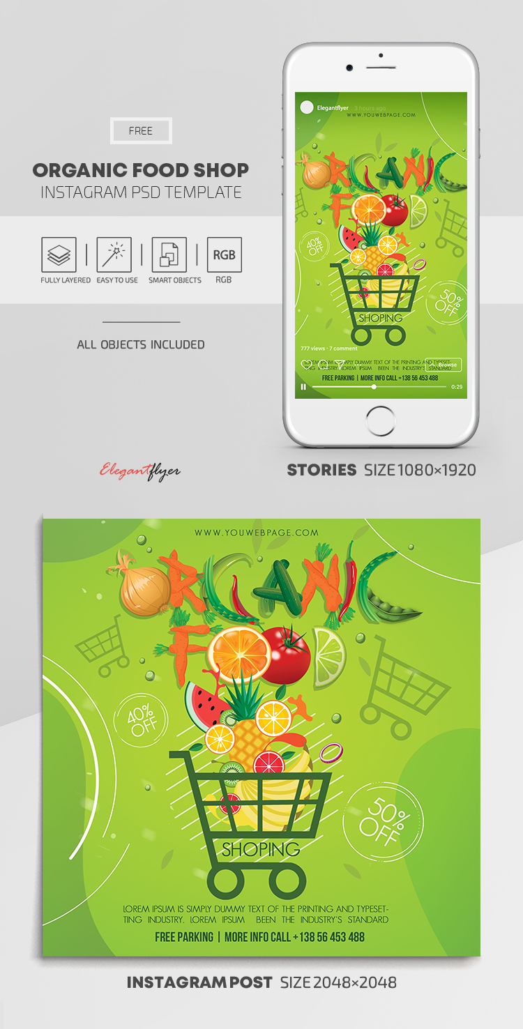 Organic Food Shop – Free Instagram Stories Template in PSD + Post Templates