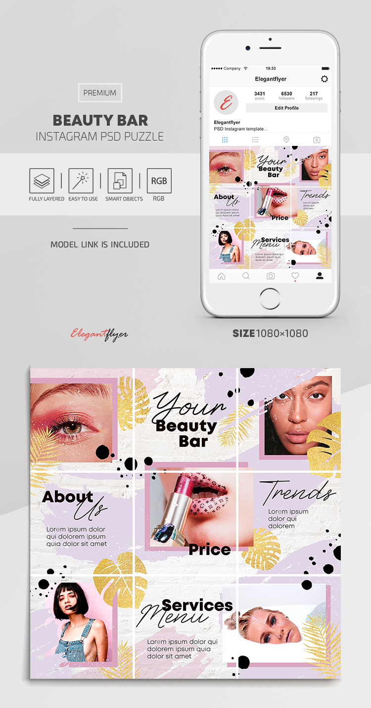 Beauty Bar – Premium Instagram PSD Puzzle