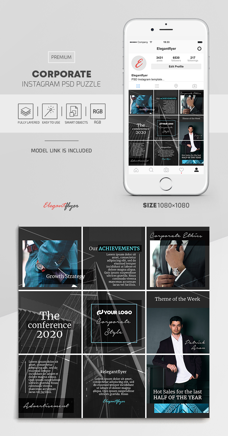 Corporate – Premium Instagram PSD Puzzle
