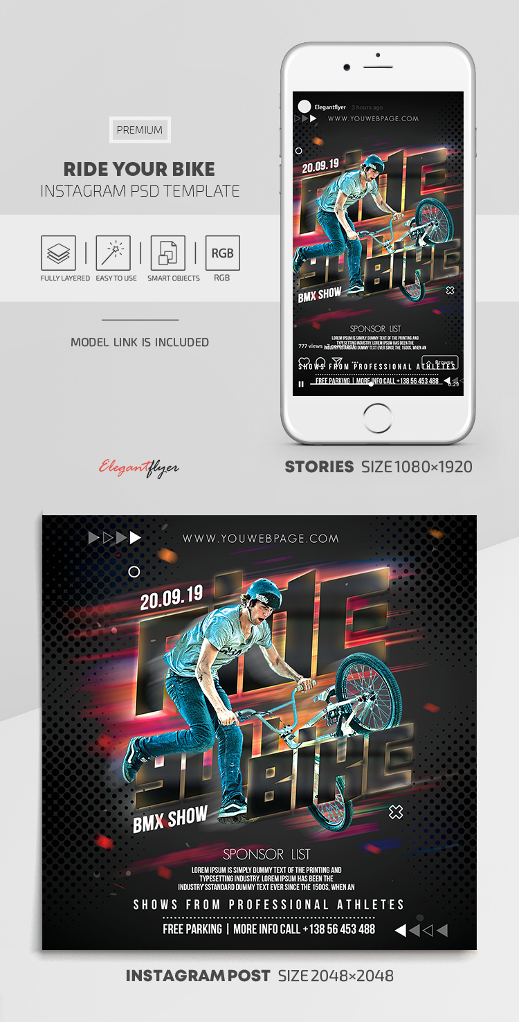 Ride Your Bike – Instagram Stories Template in PSD + Post Templates