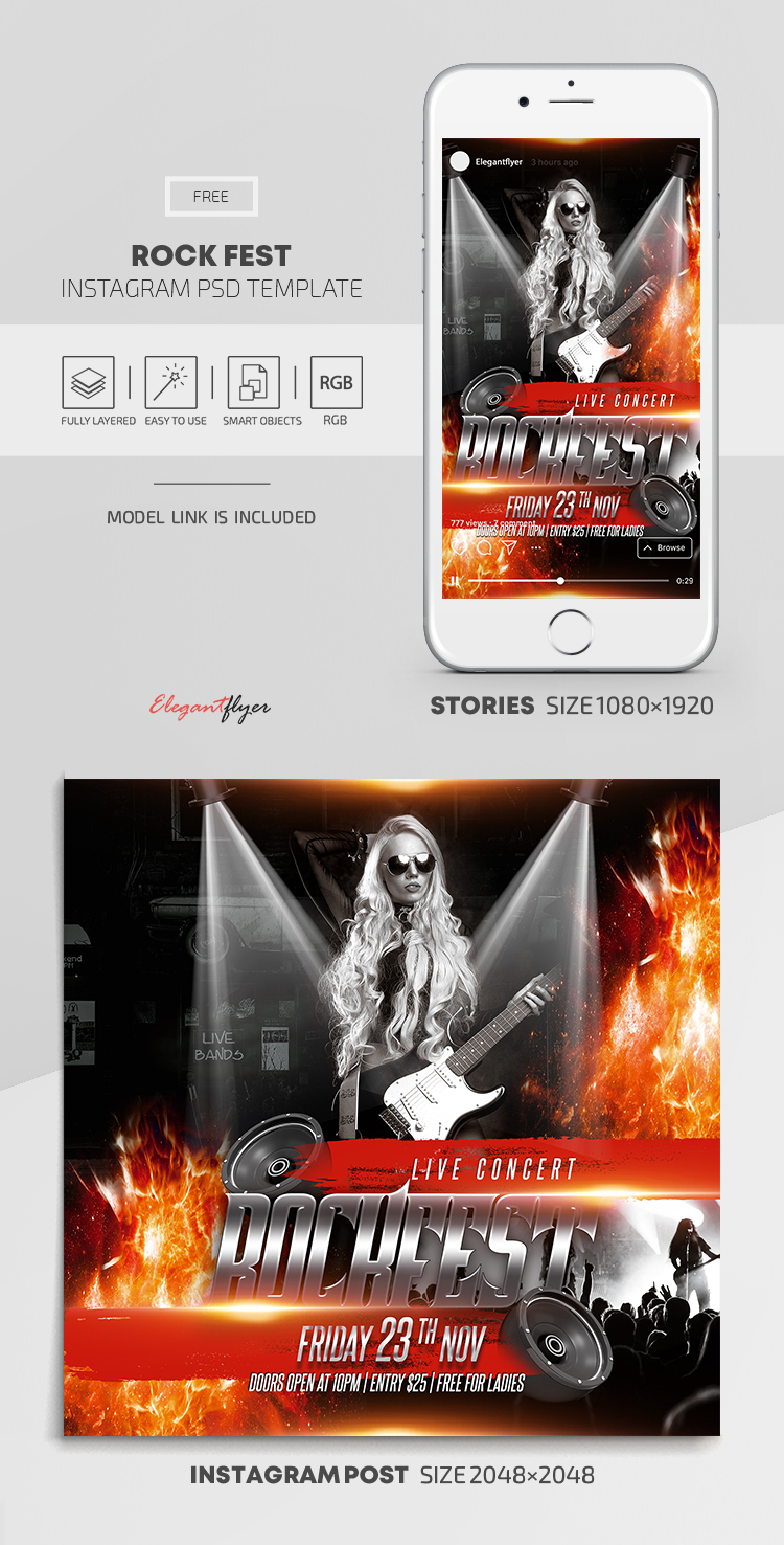 Rock Fest – Free Instagram Stories Template in PSD + Post Templates