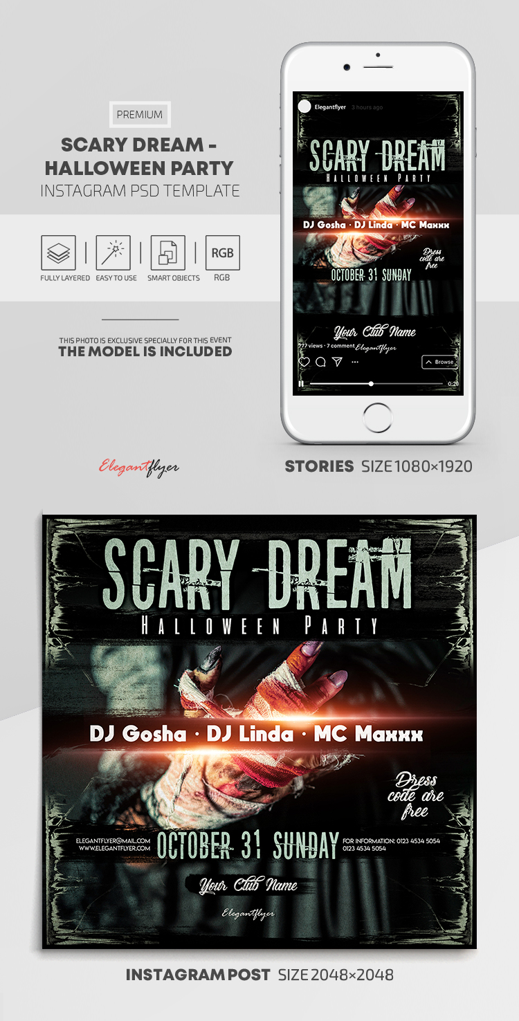 Scary Dream – Halloween Party – Instagram Stories Template in PSD + Post Templates
