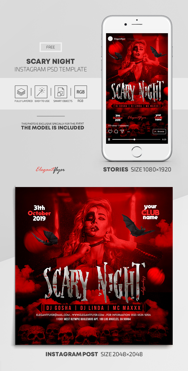 Scary Night – Free Instagram Stories Template in PSD + Post Templates