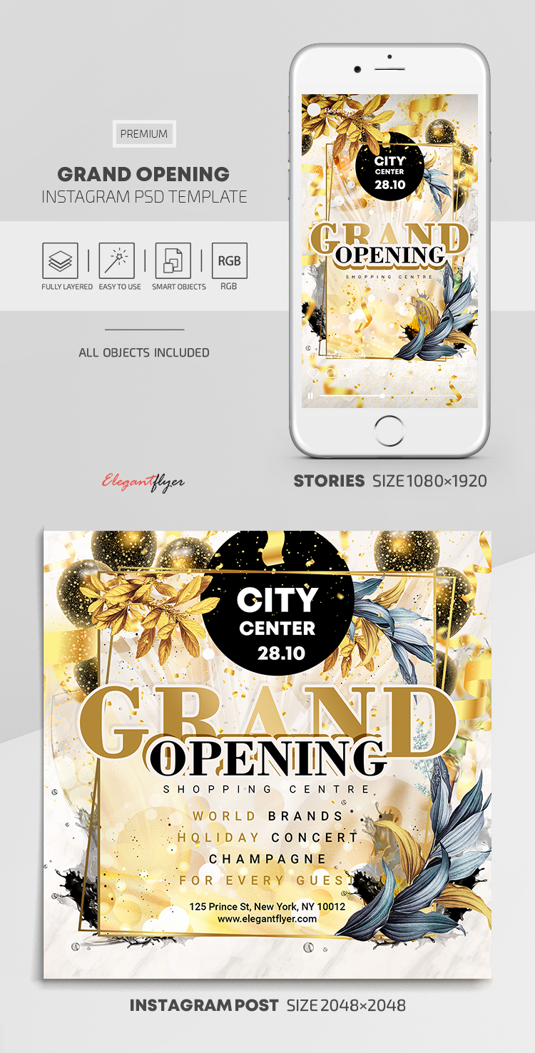 Shopping Centre. Grand Opening! – Instagram Stories Template in PSD + Post Templates