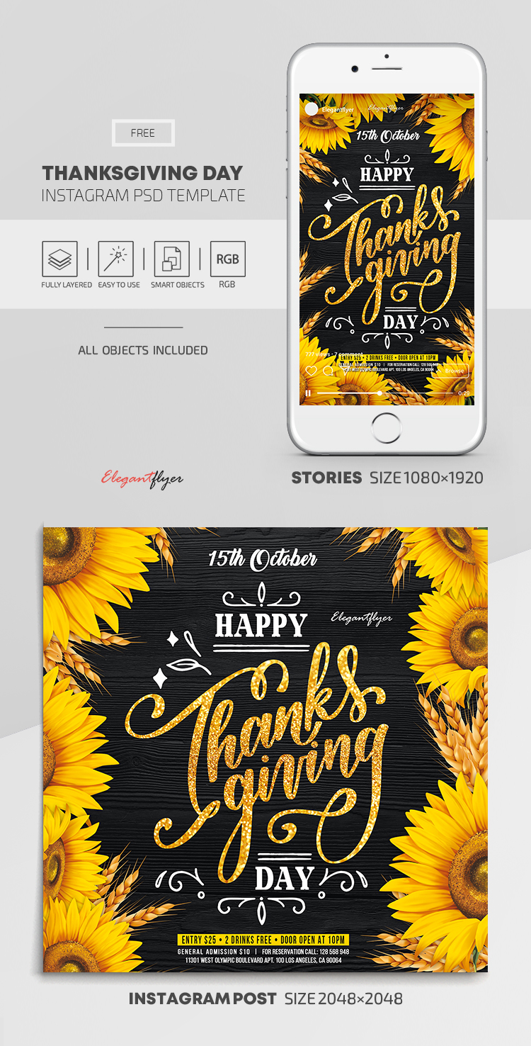 Thanksgiving Day – Free Instagram Stories Template in PSD + Post Templates