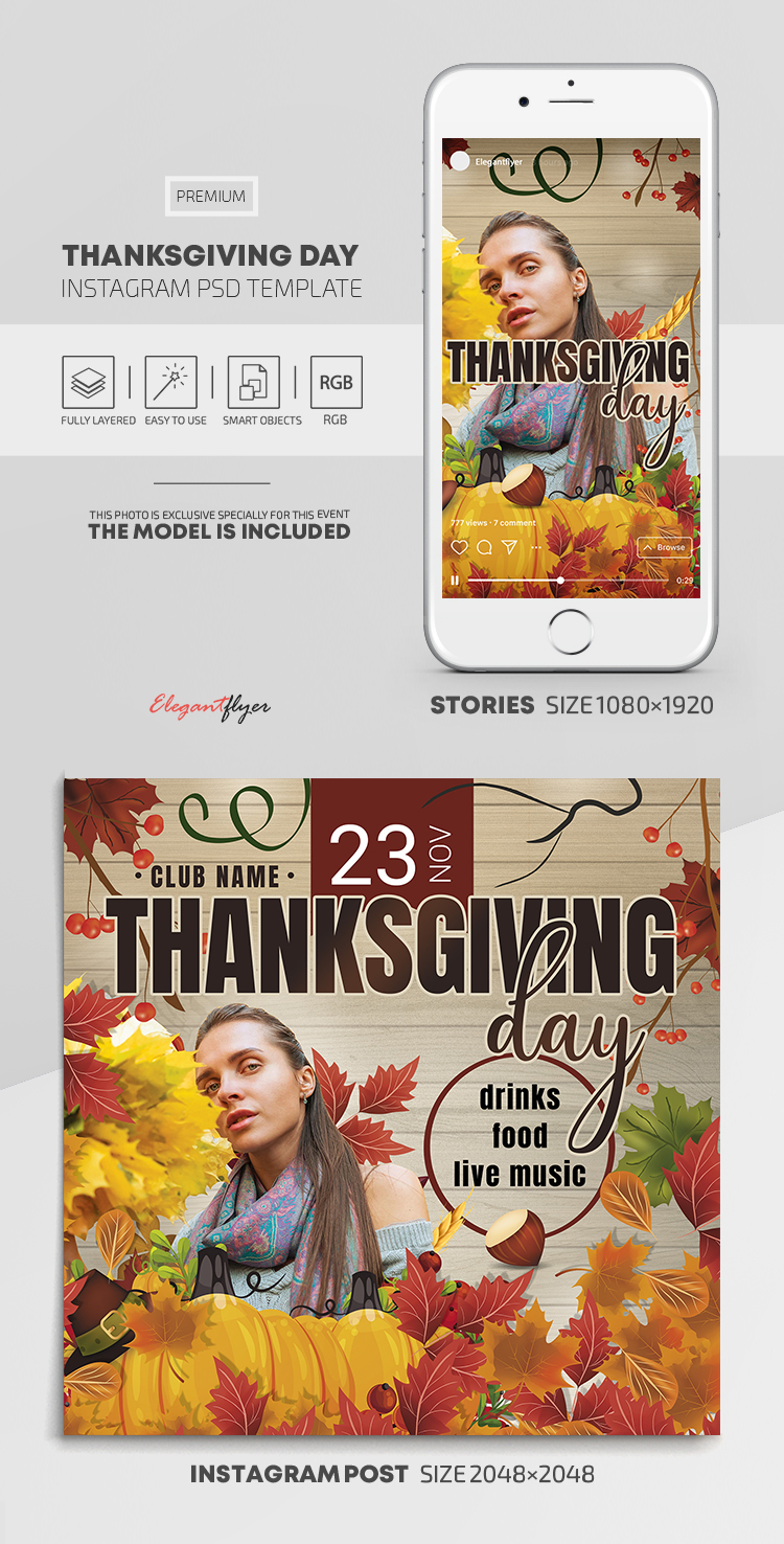 Thanksgiving Day  – Instagram Stories Template in Premium PSD + Post Templates