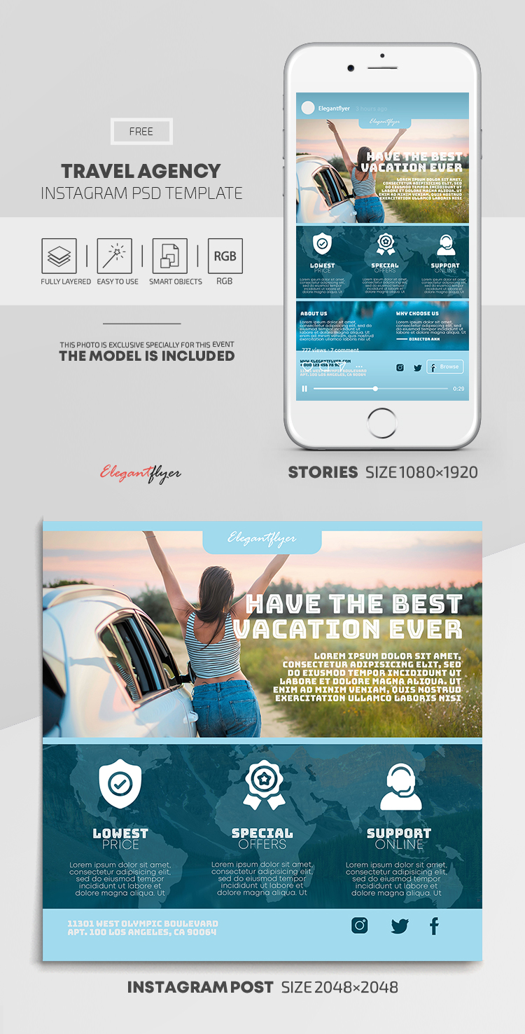Travel Agency – Free Instagram Stories Template in PSD + Post Templates