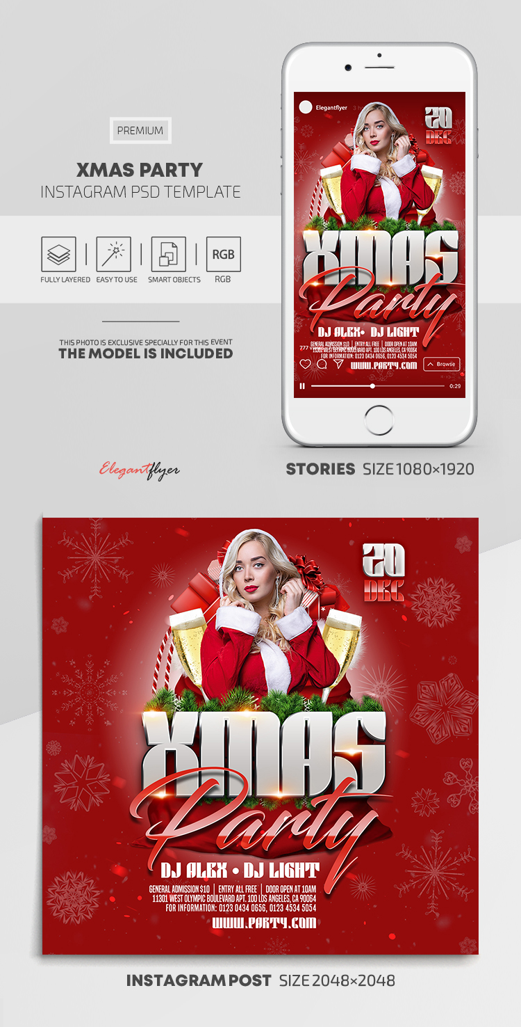 Xmas Party – Instagram Stories Template in PSD + Post Templates