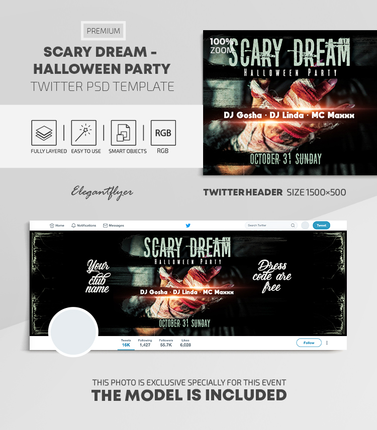Scary Dream – Halloween Party – Twitter Header PSD Template