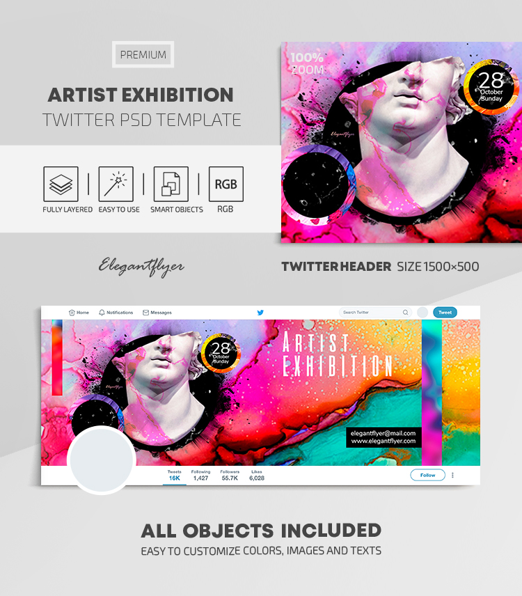 Artist Exhibition – Twitter Header PSD Template