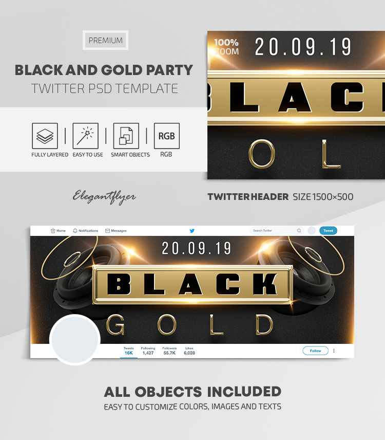 Black and Gold Party – Twitter Header PSD Template
