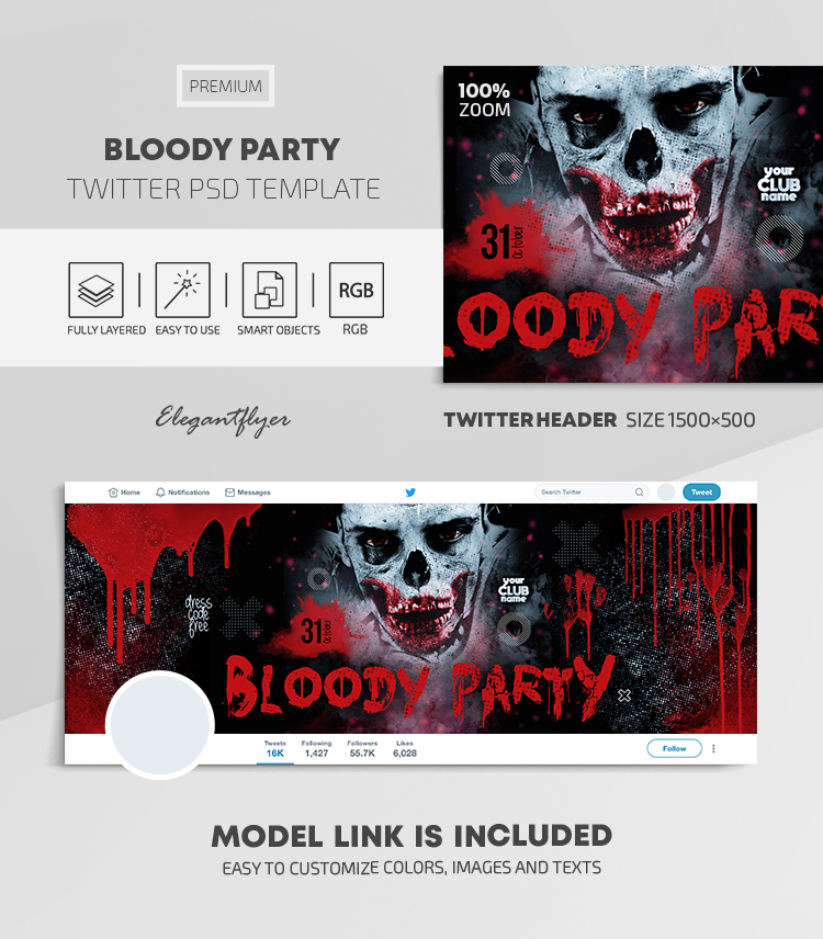 Bloody Party – Twitter Header PSD Template