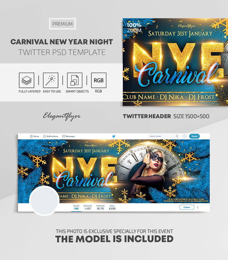 Carnival New Year Night – Twitter Header PSD Template