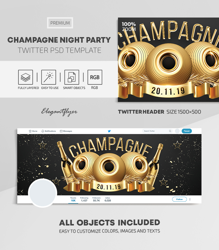 Champagne Night Party – Twitter Header PSD Template