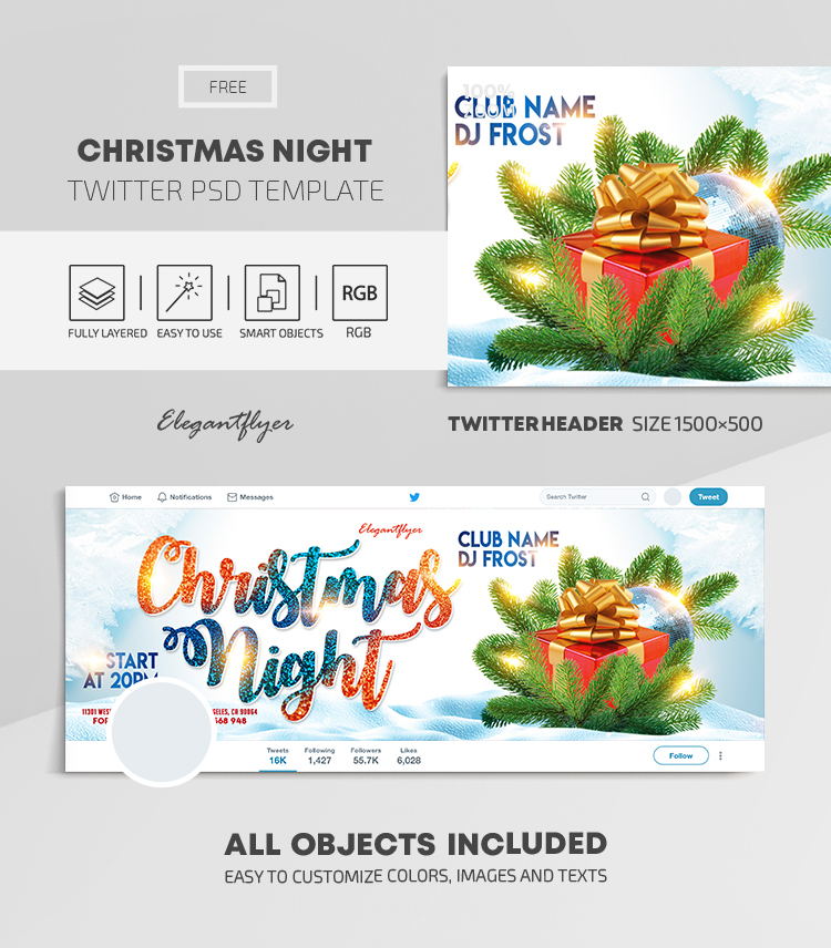 Christmas Night – Free Twitter Header PSD Template