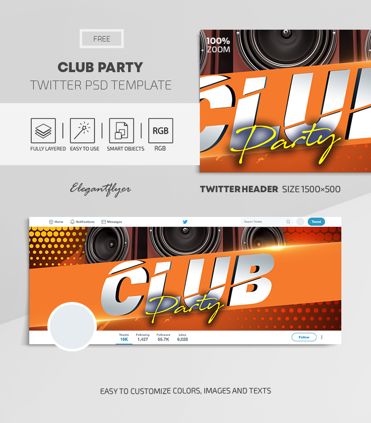 Club Party – Free Twitter Header PSD Template