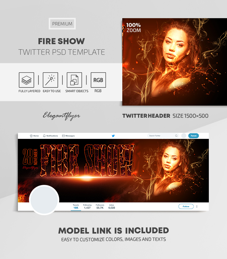 Fire Show – Twitter Header PSD Template