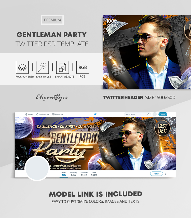 Gentleman Party – Twitter Header PSD Template
