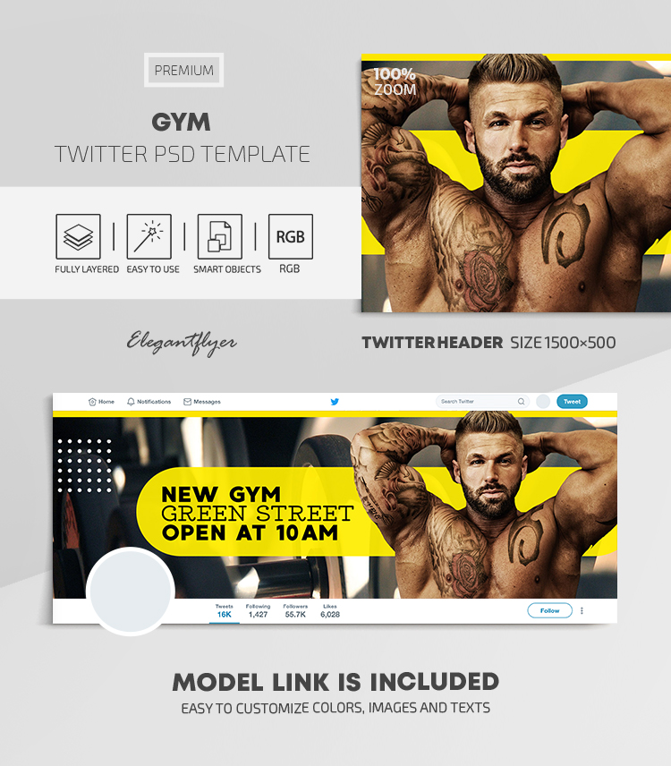GYM – Twitter Header PSD Template