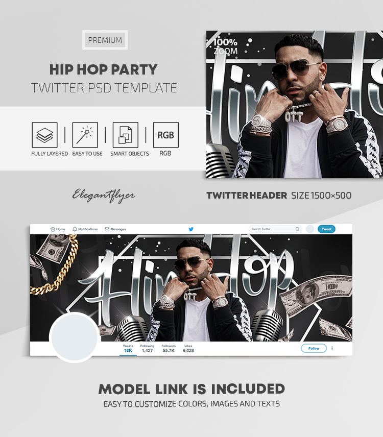 Hip Hop Party – Twitter Header PSD Template